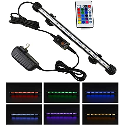 FINEIAM Led Aquarium Light,Submersible Underwater Light with Remote Controlled Dimmable for Fish Tank,