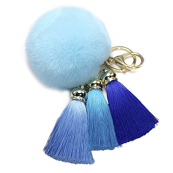 JUNKE Pop Pompom Fluffy Ball Tassel Keychain Plush Keyring Charmed Gifts Hanging Decoration for Bag Phone Backpack