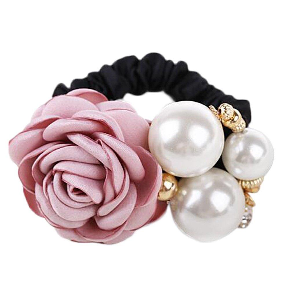 Girls Rose Flower Beads Hair Elastics Ponytail Holders Womens Hair Ties, Pink Kylin Express