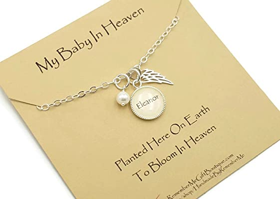 Infant Loss Memorial Necklace, Loss of Baby Gift, Sympathy, Sterling Silver Angel Wing, Name, Pearl