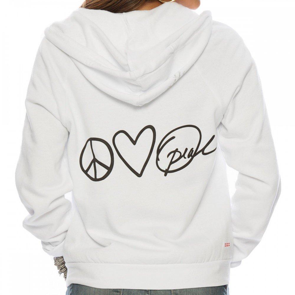 Peace Love Oprah White Fleece Zip Hoodie X-Small