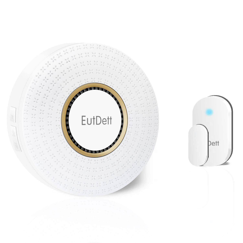 Door/Window Alarm, EutDett Wireless Door Chime Operating Range 600FT/52Chimes/4 Volumes/LED Indicator, 1 Magnetic Door Sensor & 1 Plugin Receiver for Home Security/Business/Garage (DS-B16)