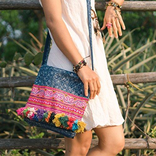 Changnoi Handcrafted Vintage Hmong Embroidered Crossbody Bag, Colorful Tassels Handbag from Thailand, Blue Batik Bag, Ethnic Bag -