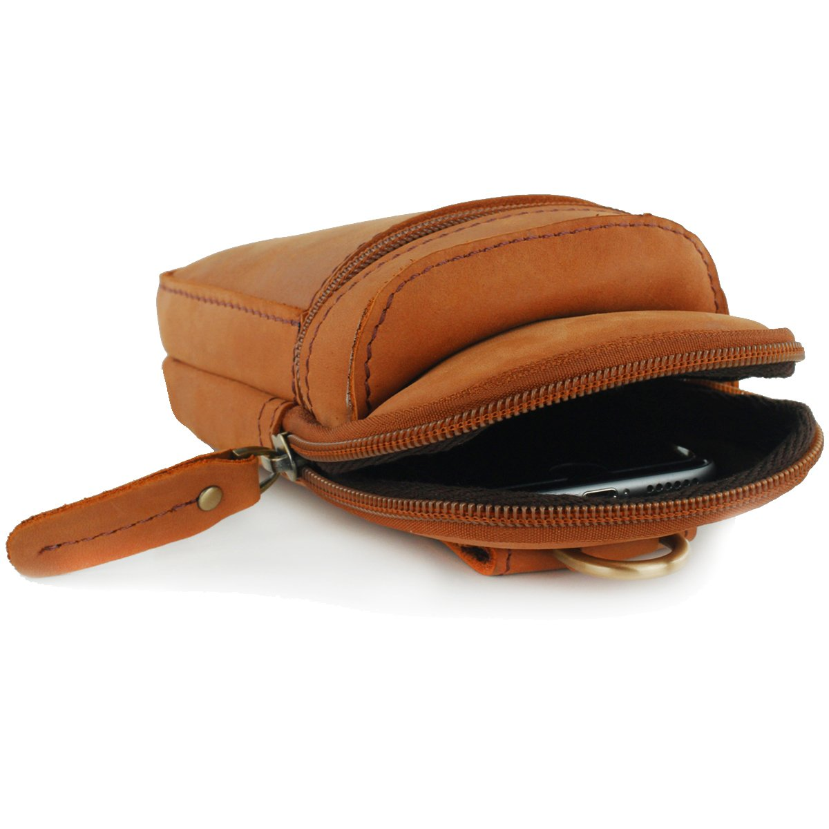 Brown UER Unisex Handcrafted Cow Leather Waist Pack Wallet Phone Case