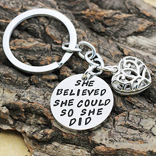 Family Friend Gift Silver She Believed She Could So She Did Double Pendant Key Chain Ring for Women Girl Photo #6