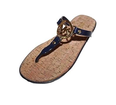 a83487379 Amazon.com   Michael Kors MK Charm Jelly Flip Flop Cork Bottom, Navy ...