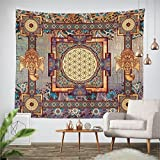 Ussuperstar Ethnic Noble Photo Frame Elephant Floral Tapestry Wall Hanging Hippie Bedspread Curtain Decor Picnic Blanket Housewarming Birthday Gift 51 W x 59 L Inches (M, Square)