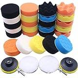 Wakauto 31 peças de pastilhas de polimento para furadeira de espuma de carro kit de pastilha de polimento para veículos autom