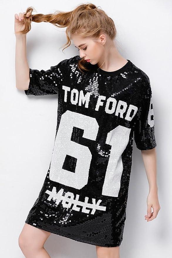 P R Sparkle Glitter Sequins Hip Hop Jazz Dancing T-Shirt Dress Plus Size  Clubwear 1965f38f6fcf