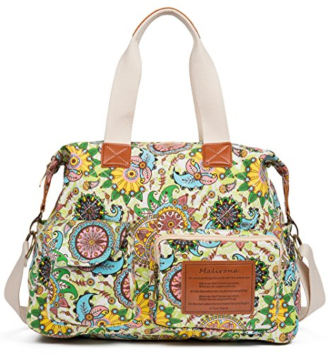 Malirona Canvas Shoulder Bag Travel Handbag Women Top Handle Satchel Crossbody Purse Floral Design
