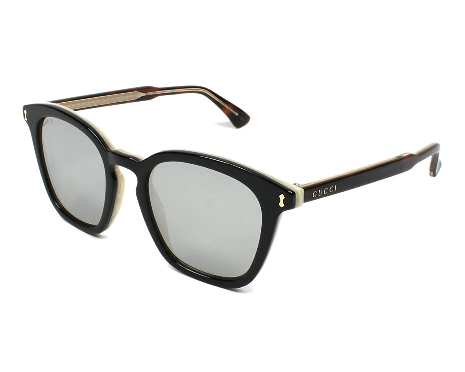 8e5b1f55c59 Amazon.com  Gucci GG0125S 006 (Black - Havana with Grey with Mirror effect  lenses)  Clothing