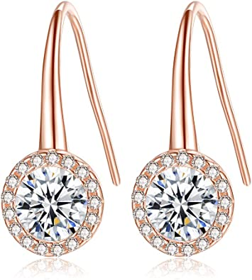 18K Rose Gold Plated Drop Stud Earrings Fashion Jewelry