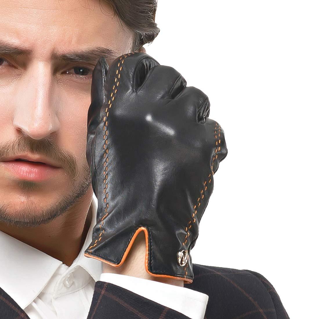 Nappaglo uomini italiano nappa guanti di pelle touchscreen di pelle calda dei guanti con linee di colpire il colore