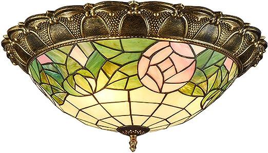 LED rotondo luci a soffitto luce calda Tiffany stile lampada