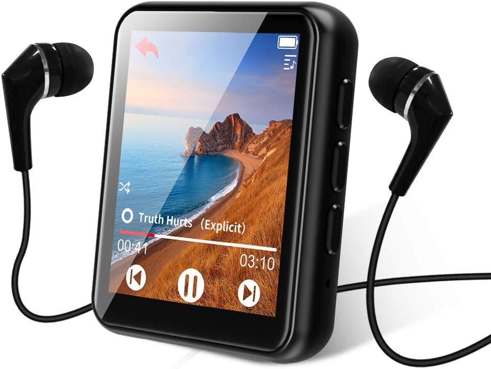 Bluetooth 5.0 Reproductor MP3, 16GB Reproductor de Música 1.8 Pulgadas Pantalla Táctil Completa, con Altavoz, FM Radio, Grabación, Podometro, Auriculares, Soporte Expandible hasta 128G