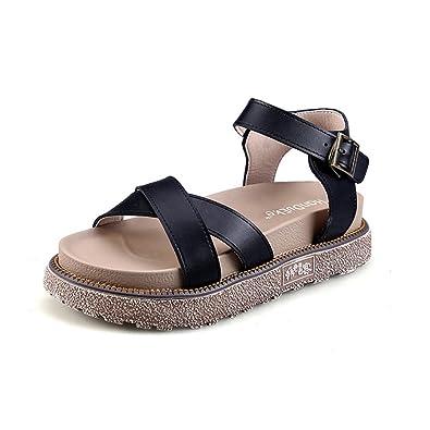 f5df40ec4445 Fuoks Women s Fashion Summer Leather Outdoor Ladies Sandals Black 36 5.5 D(M)  US