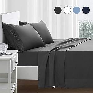 RYONGII Queen Size Sheet Set - 4 Piece - Super Soft Microfiber Bed Sheets - Fade Resistant Hotel Luxury Bedding - Hypoallergenic – Wrinkle Resistant - Deep Pocket(Dark Gray, Queen)