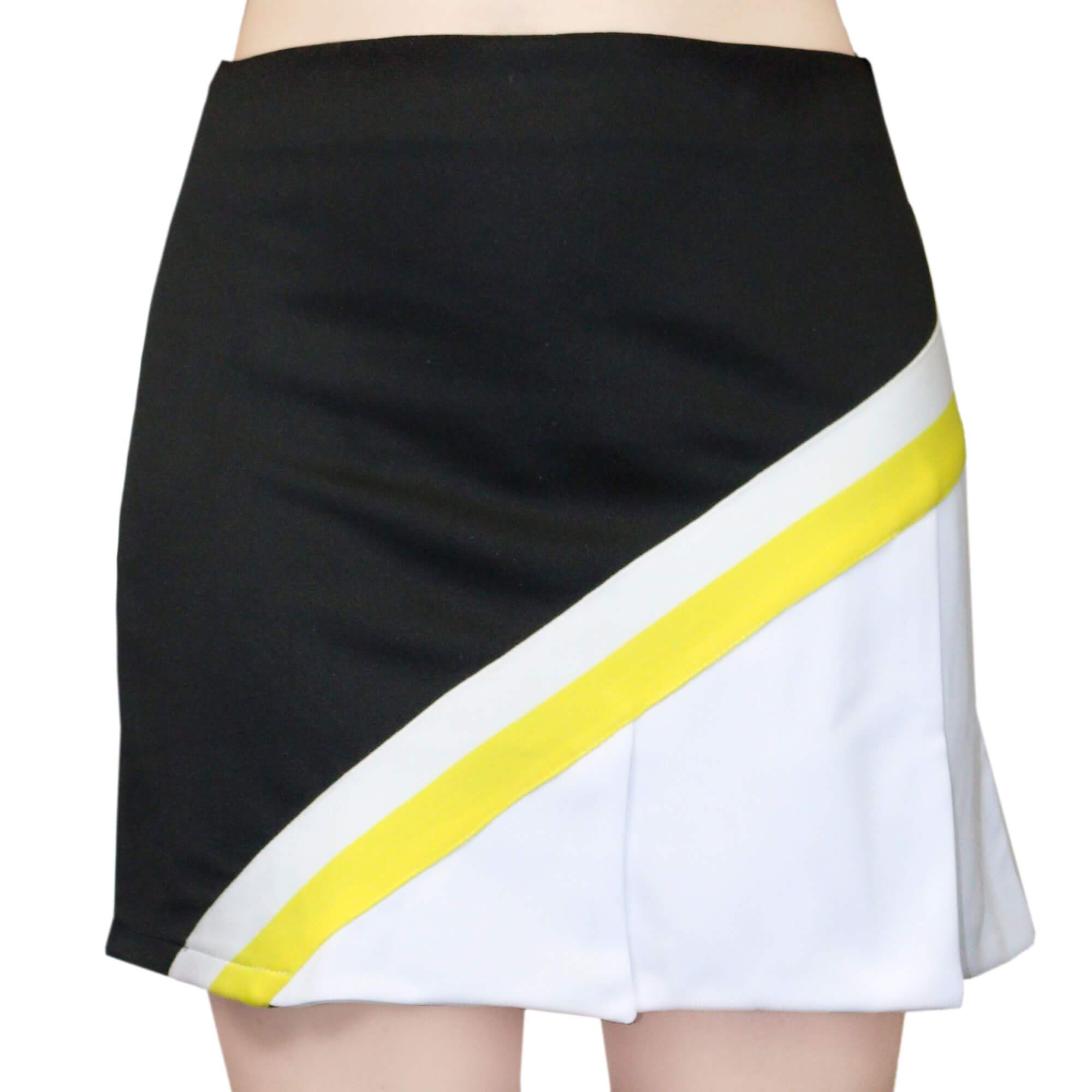 Danzcue Adult Cheerleading A-Line Pleat Skirt, Black-White, Small by Danzcue