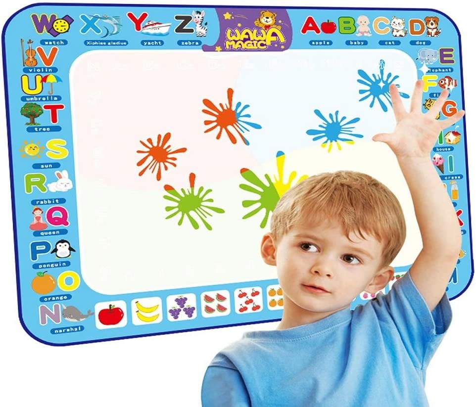 Emotionlin Color Writing Magic Graffiti Blanket 100 Cmx75 cm Large Water Doodle Drawing Mat Mess Free Coloring Mats,Educational Toys for Kids Toddlers Boy Girl Age 2 3 4 5 6 7