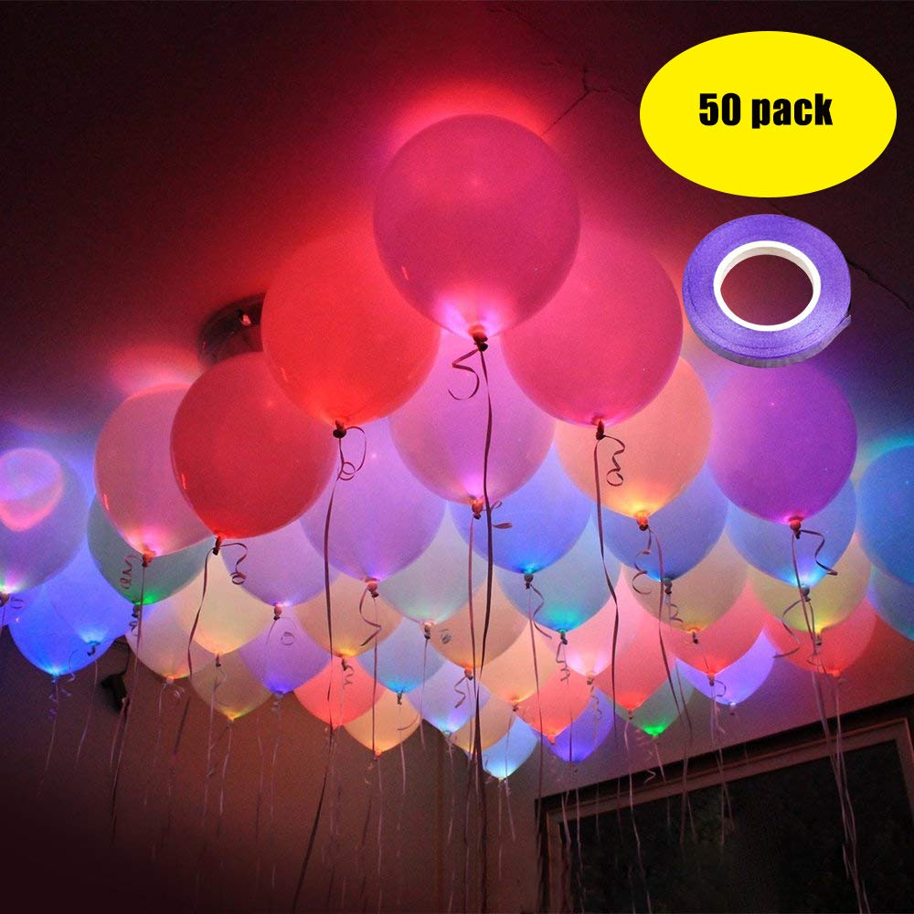 LED Light up Ballons for Party -Led Flash Ball Lamp Mixed Colors Balloon,Glow in The Dark Balloons for Party,Birthday,Wedding,Halloween,Home Decoration,Inflate with Air or Helium (50pack)