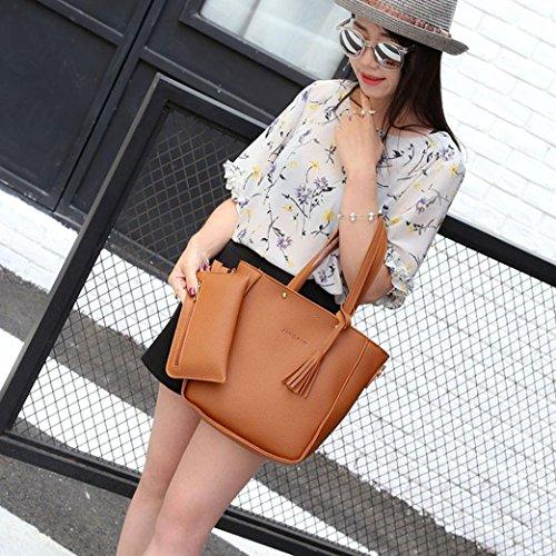 Crossbody Bags 4PCS Package Handbag Tote SHOBDW Bags Card Womens Brown Sets Shoulder Shoulder Wallet Women Aq1ASp0