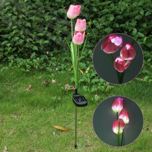Solar Powered 3 Led Artificial Pink Tulip Flower Outdoor Garden Decor (Tulip Garden Path Light)