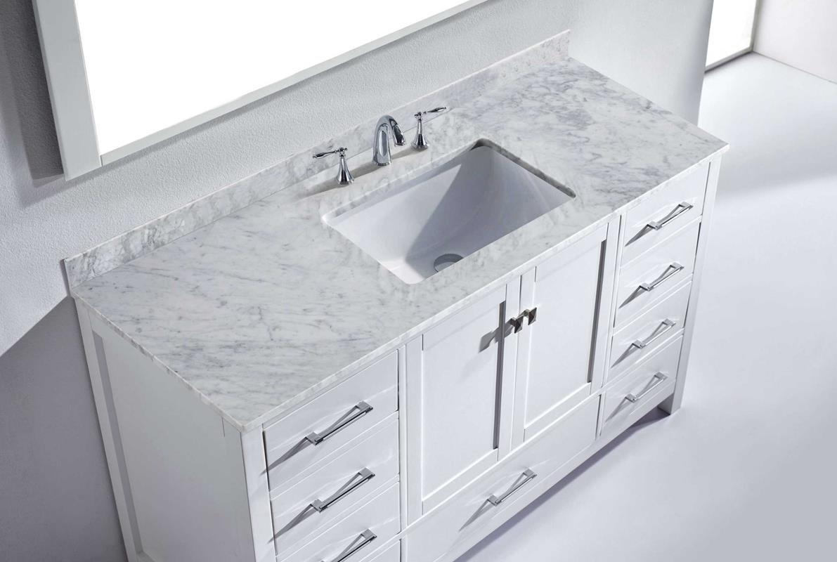 Virtu USA GS-50060-WMSQ-WH Caroline Avenue 60'' Single Bathroom Vanity Set, White