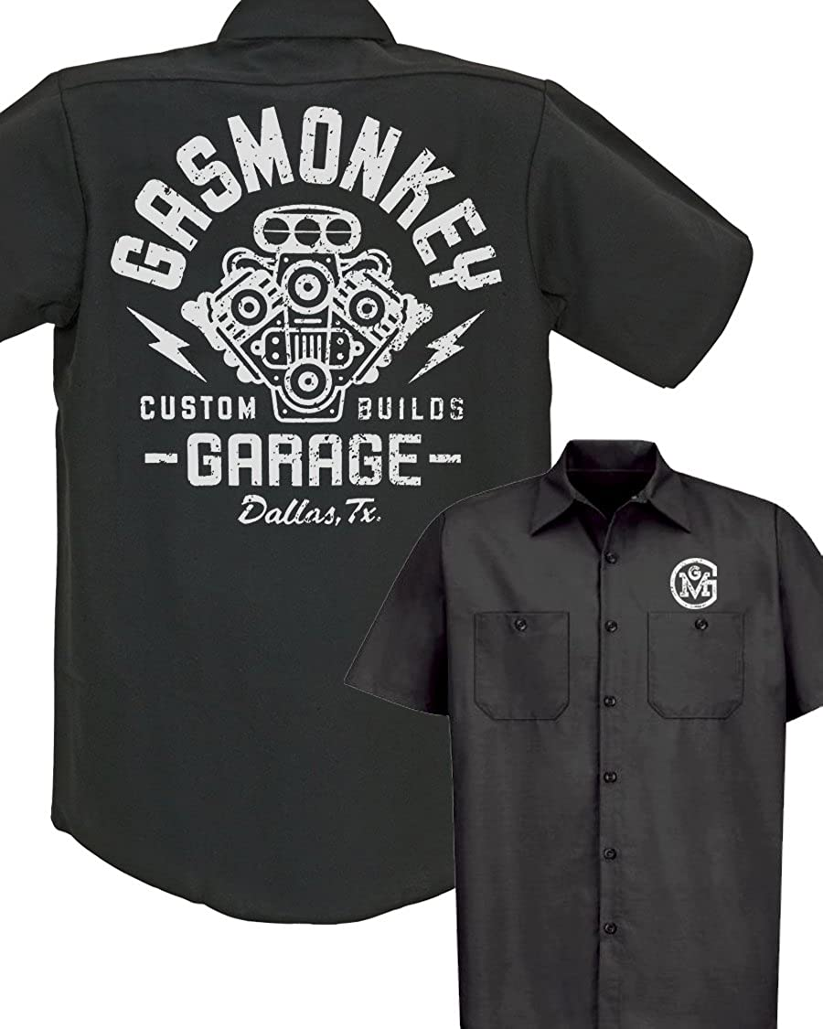 Gas Monkey Garage Distressed Engine Work Shirt Medium Amazon