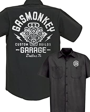 a29a484454d Gas Monkey Garage Distressed Engine Work Shirt (Medium)  Amazon.co.uk   Clothing