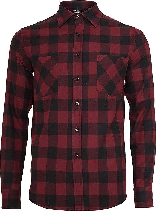 Urban Classics Camisa de Franela a Cuadros Hombre Camisa de Franela Negro/burgundi, Regular