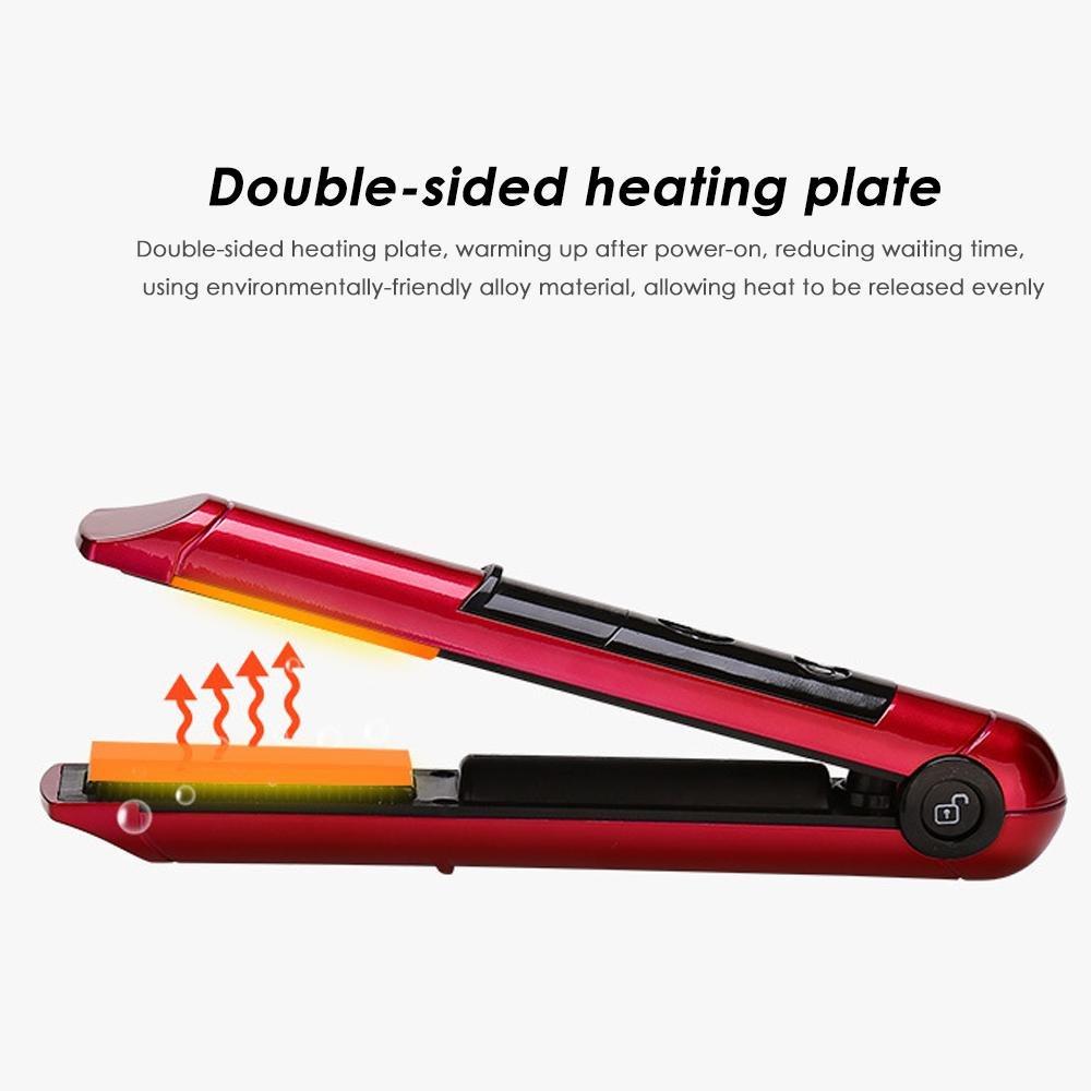 Kobwa Plancha de Pelo,Mini Planchas para Pelo Recargable USB Alisador de Pelo Portátil Inalámbrico Plancha Flotante 3D y Temperatura Ajustable para ...