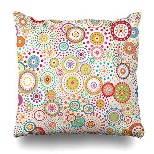 Ahawoso Throw Pillow Cover Lime Green Aqua Circles Dots Orange Collage Bright Burst Distressed Yellow Home Decor Cushion Case Square Size 16 x 16 Inches Zippered ()