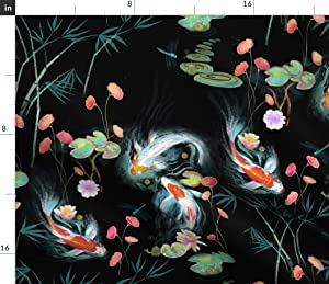 Spoonflower Fabric - Koi, Fish, Japanese, Water Garden, Black, Chinoiserie, Floral, Flowers Printed on Basketweave Cotton Canvas Fabric by The Yard - Upholstery Home Decor Bottomweight