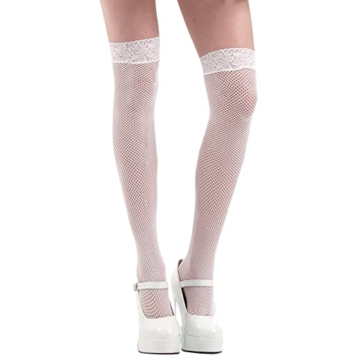 2db87f34a82114 Amazon.com: White Thigh-High Fishnet Halloween Adult Women's Cosplay ...