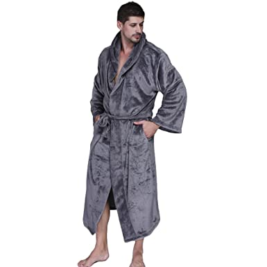 ac5d068604 Image Unavailable. Image not available for. Color  WEEN CHARM Women Men  Fleece Long Plus Size Kimono Robe Hooded Spa Plush Flannel Bathrobe