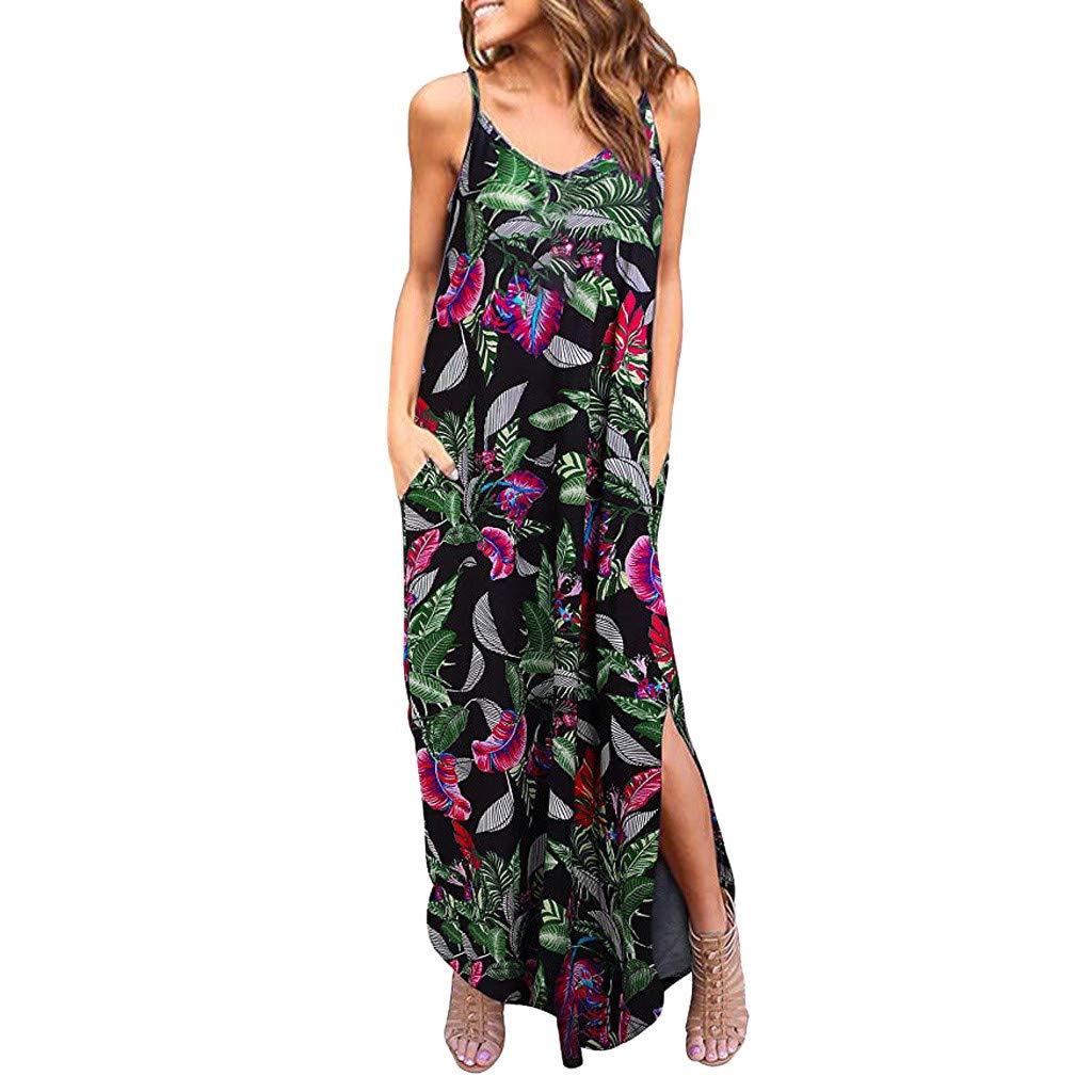 Womens Summer Boho Maxi Dress,Sleeveless Spaghetti Strappy Beach Cami Split Dresses with Pocket by Drindf Womens Dress