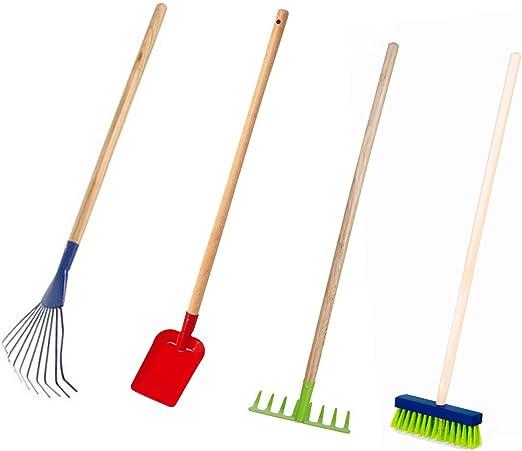País De Casa de Shop Niños Juego de herramientas de jardín 4 piezas, escoba Rastrillo Rastrillo schüppe Jardín dispositivos juguete: Amazon.es: Jardín
