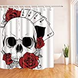 BCNEW Skull Shower Curtain Flowers Red Roses Leaves Poker Cards Four Aces, 70 x 70 Inches Polyester Fabric Waterproof Mildew Resistant With 12pcs Hooks