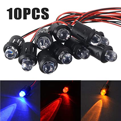 10pcs 12V 10mm Lens Pre-Wired Constant LED Water Clear Bulb Ultra Bright Lamp