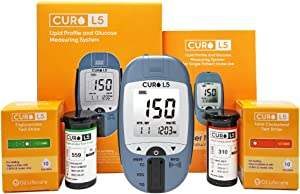 CUROfit at Home Blood Cholesterol Test Kit - CURO L5 Digital Meter - (10 Total Cholesterol Strips & 10 Triglycerides Test Strips Included)