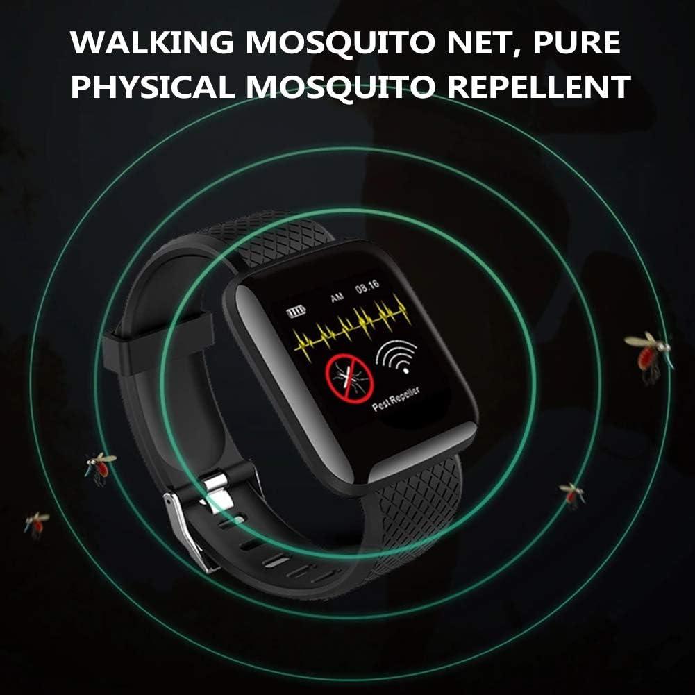 Fovor - Braccialetto repellente per zanzare ad ultrasuoni, impermeabile, con cardiofrequenzimetro, portatile, da viaggio, repellente per insetti per bambini e adulti Nero