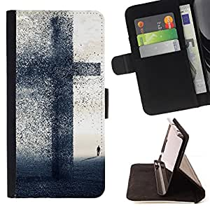 For Samsung Galaxy S6 EDGE BIG CROSS - FAITH Leather Foilo Wallet Cover Case with Magnetic Closure