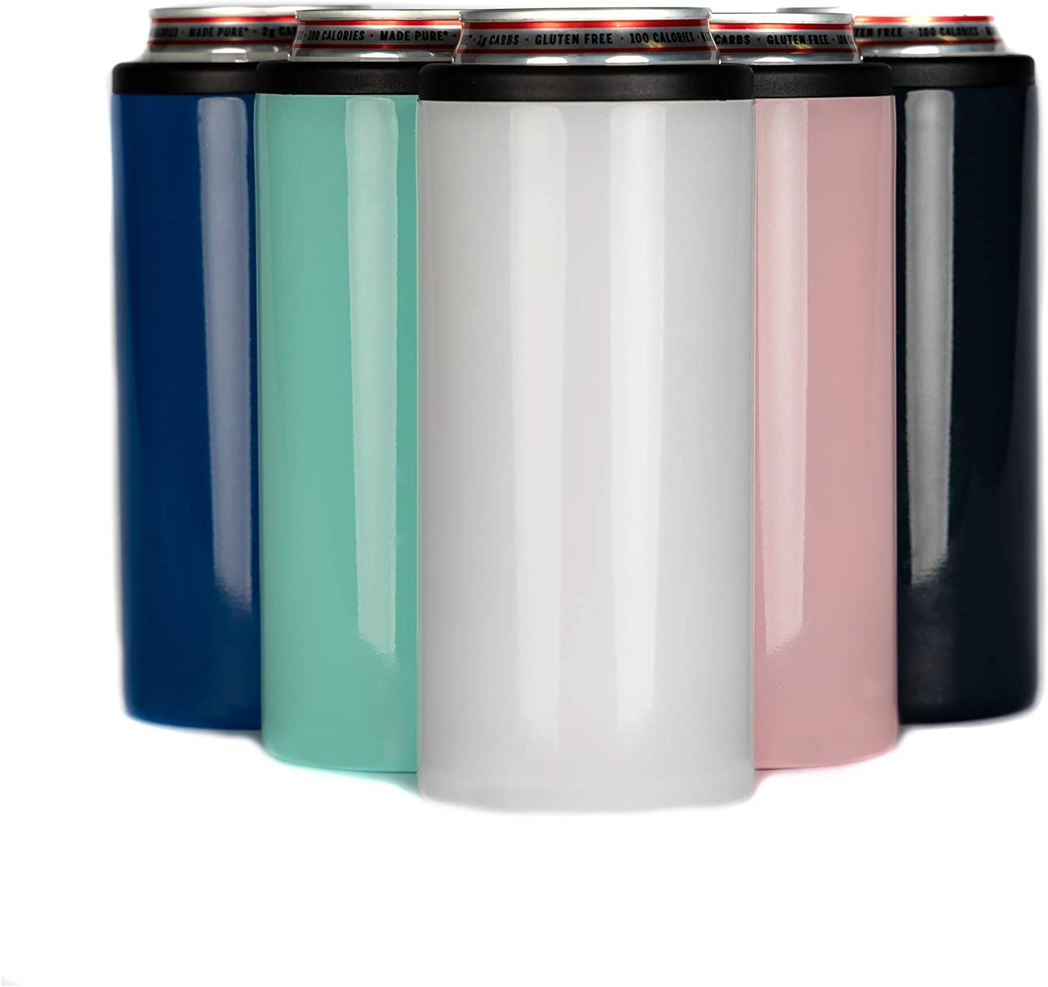 Klarny 12 oz Slim Can Cooler for Hard Seltzer & Slim Beer Double Walled Stainless Steel Insulated Coozie Skinny Beer Soda Energy Drink Holder