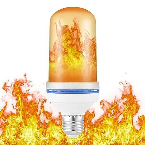 Tutmonda E27 Base LED Bombilla con Efecto de Llama 4 Modos Gravedad Efecto al revés Simulador