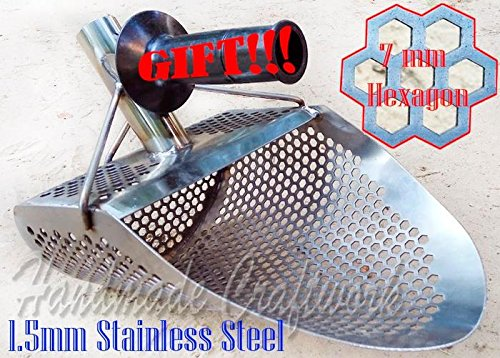 Beach Sand Scoop HEXAGON -7mm Metal Detecting Hunting Tool Stainless Steel COOB For Sale