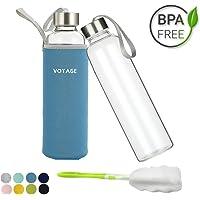 Voyage Glasflasche BPA-Frei Glasflasche - 550ml Trinkflasche Classic mit Nylon Tasche - für Auto - für Unterwegs Sport Flasche Glas Flasche Water Bottle Wasserflasche Trinkflasche aus Glas