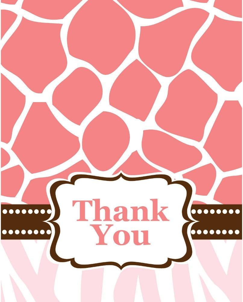 창조적 인 변환 베이비 샤워 와일드 사파리 핑크 8 카운트 감사 카드