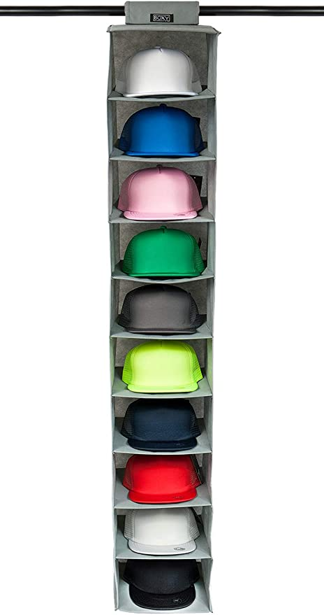 Amazon Com Boxy Concepts Hat Rack 10 Shelf Hanging Closet Hat Organizer For Hat Storage Protect Your Caps Keep Them In Great Condition Easy Hat Holder Baseball Cap Organizer