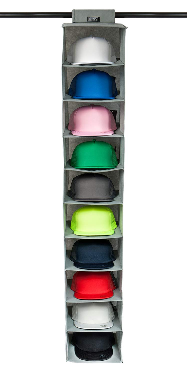 Boxy Concepts Hat Rack 10 Shelf Hanging Closet Hat Organizer for Hat Storage - Protect Your Caps & Keep Them in Great Condition - Easy Hat Holder & Baseball Cap Organizer (1 Pack)