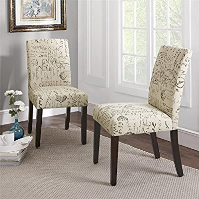 Dorel Living Blakely Upholstered Script Parsons Dining Chairs, Pattern, Set of 2